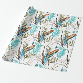 Tribal Feather & Hanging Blue Cristal Pattern Wrapping Paper