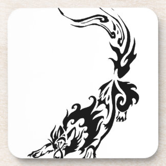 Tribal Fiery Wolf Pouncing png Coaster