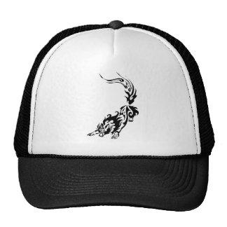 Tribal Fiery Wolf Pouncing.png Trucker Hats