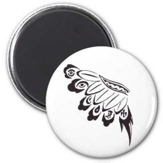 Tribal Floral Wing Flipped 6 Cm Round Magnet