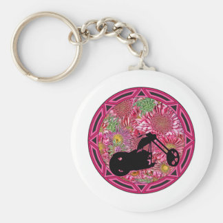 Tribal Flowers Chop Basic Round Button Key Ring