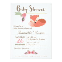 Tribal Foxl Girls Baby Shower Invitation