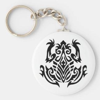 Tribal Frog Tattoo Basic Round Button Key Ring