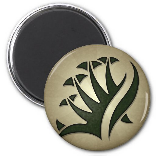 Tribal Frond Round Magnet