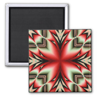 tribal geo flower square magnet