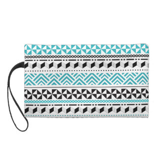 Tribal Geometric Black and Aqua Modern Aztec Wristlet Clutches