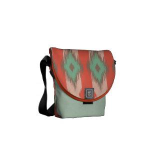 Tribal geometric diamond ikat stripe Aztec pattern Courier Bags