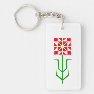 tribal geometric ethnic art rectangular acrylic key chain