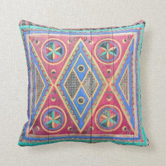 Tribal Geometric Pattern Arabian Wooden Door Cushion