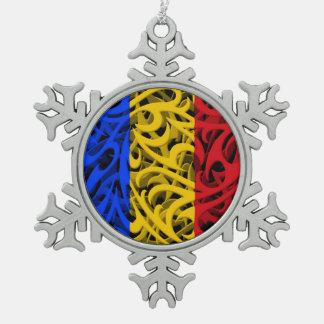 Tribal Graffiti Flag of Romania Snowflake Pewter Christmas Ornament
