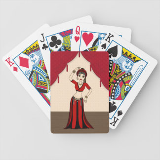 Tribal Gypsy Bellydancer in Red and Black Costume Bicycle Playing Cards