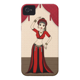 Tribal Gypsy Bellydancer in Red and Black Costume iPhone 4 Case-Mate Case