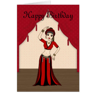 Tribal Gypsy Bellydancer in Red and Black Costume Greeting Card