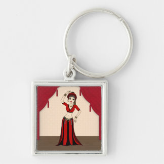 Tribal Gypsy Bellydancer in Red and Black Costume Silver-Colored Square Key Ring