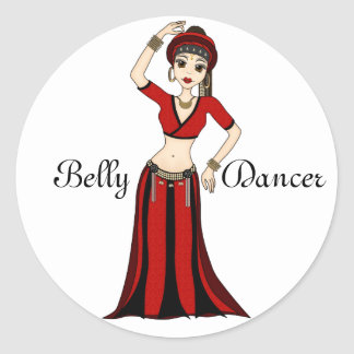 Tribal Gypsy Bellydancer in Red and Black Costume Round Stickers