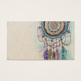 tribal hand paint dreamcatcher mandala design business card