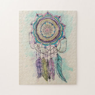 tribal hand paint dreamcatcher mandala design jigsaw puzzle
