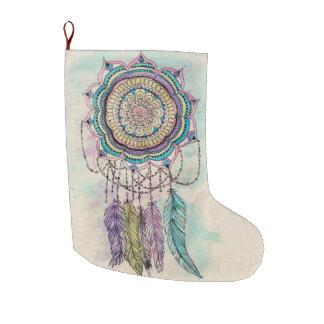 tribal hand paint dreamcatcher mandala design large christmas stocking