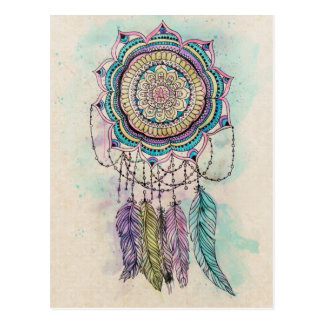 tribal hand paint dreamcatcher mandala design postcard