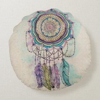 tribal hand paint dreamcatcher mandala design round cushion