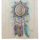 tribal hand paint dreamcatcher mandala design shower curtain