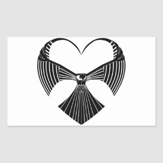 Tribal Hawk Valentines Day Heart Rectangular Sticker