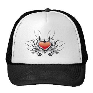 tribal heart floral tattoo mesh hat