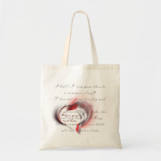Tribal Heart with Shakespeare's sonnet 18 Tote Bag