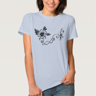 Tribal Hibiscus & Butterfly T Shirt