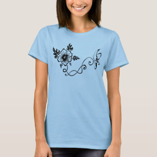 Tribal Hibiscus & Butterfly T-Shirt