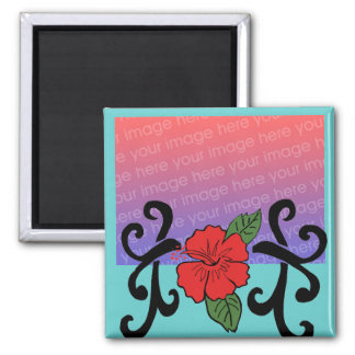 Tribal hibiscus template magnet