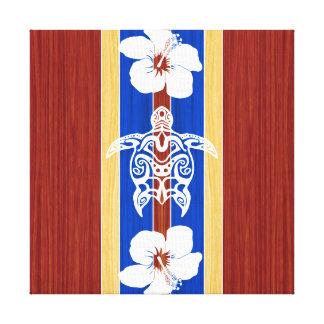 Tribal Honu Fake Wood Surfboard Stretched Canvas Prints
