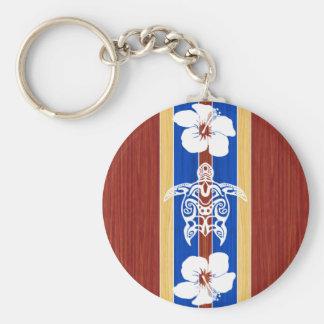 Tribal Honu Fake Wood Surfboard Key Ring