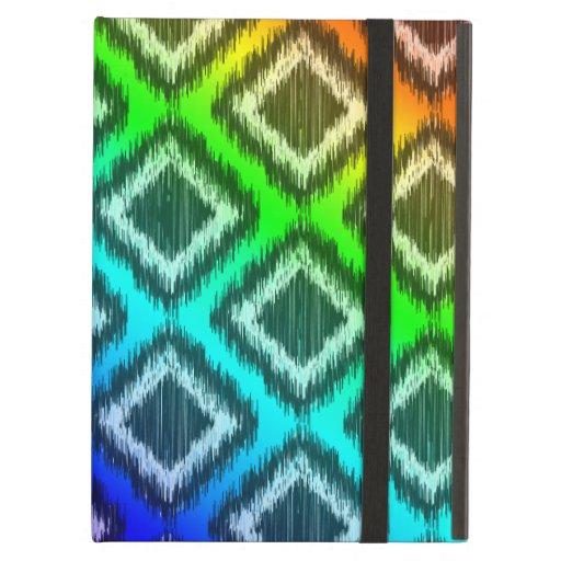 Tribal Ikat Rainbow Colorful Pattern iPad Folio Cases