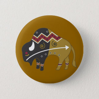 Tribal Indian Buffalo 6 Cm Round Badge