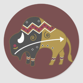 Tribal Indian Buffalo Round Sticker