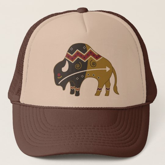 Tribal Indian Buffalo Trucker Hat