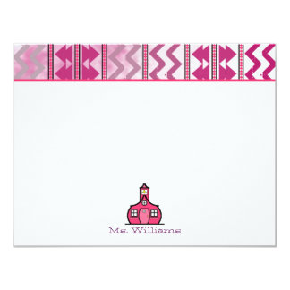 Tribal Inspired Flat Notecards For Teachers 4.25x5.5 Paper Invitation Card