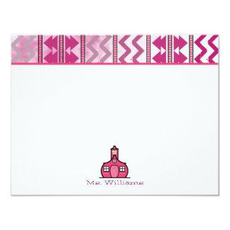 "Tribal Inspired Flat Notecards For Teachers 4.25"" X 5.5"" Invitation Card"