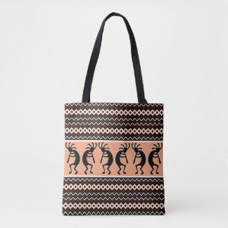 Tribal Kokopelli Peach Brown  Black White Tote Bag
