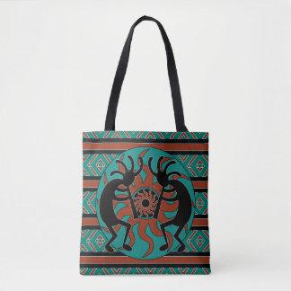 Tribal Kokopelli Teal Brown And Black Tote Bag
