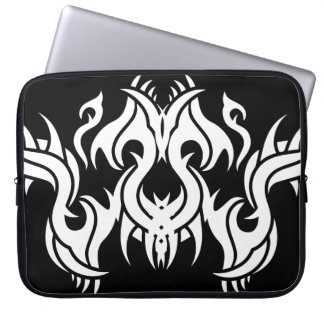 Tribal laptop sleeve 7 white to over black