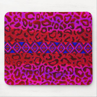 TRIBAL LEOPARD 3 Pink Native Animal Print Painting Mouse Pad