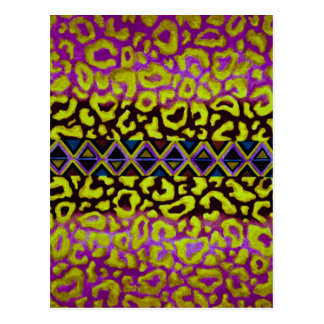 TRIBAL LEOPARD 4 Purple Native Animal Pattern Postcard