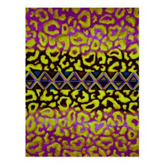 TRIBAL LEOPARD 4 Purple Native Animal Pattern Postcard