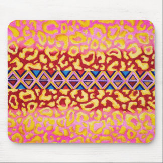 TRIBAL LEOPARD Pink Native Animal Print Painting Mouse Pad