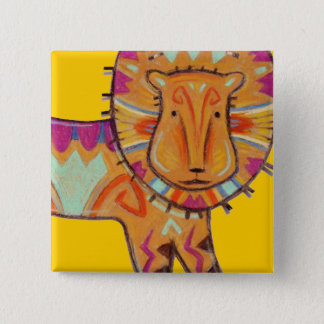Tribal Lion 15 Cm Square Badge