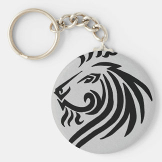 TRIBAL LION BASIC ROUND BUTTON KEY RING