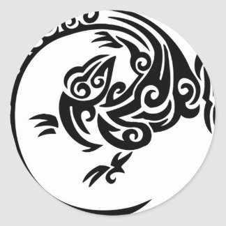 Tribal lizard circle classic round sticker