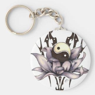 tribal lotus basic round button key ring